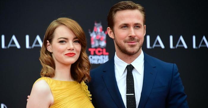 costume bleu roi tendance dans le monde du cinéma, Ryan Gosling, star de La La Land, couple vedette avec Emma Stone