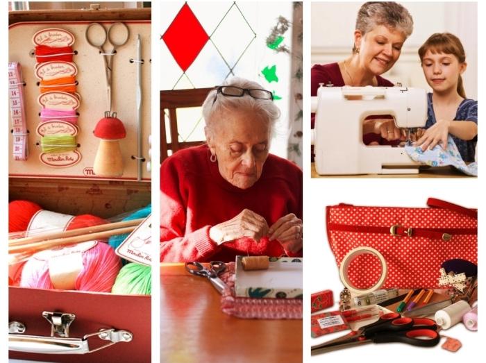 idée surprise pour la fête des grands mères avec un coffre d'outils et accessoires de tricotage et couture, grand-mère avec sa petite-fille devant la machine à coudre