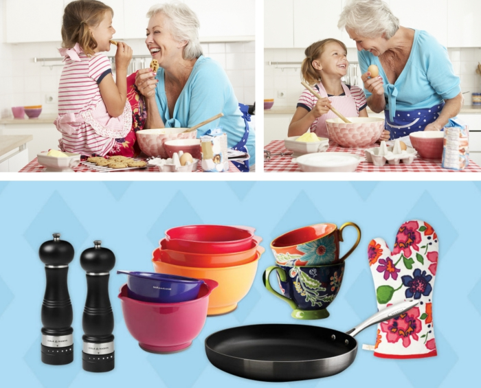 petite-fille aux cheveux châtain clair avec sa grand-mère en préparant des desserts dans la cuisine, accessoires et outils de cuisine pour un cadeau grand mere
