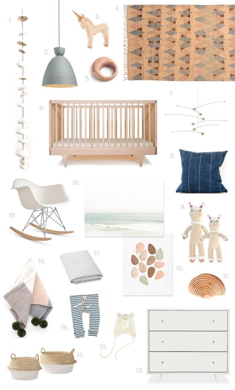 quelles couleurs et motifs pour les accessoires dans la deco chambre fille bébé, combiner un lit à barreaux bois clair avec chaise à basculer et panier en paille pour jouets