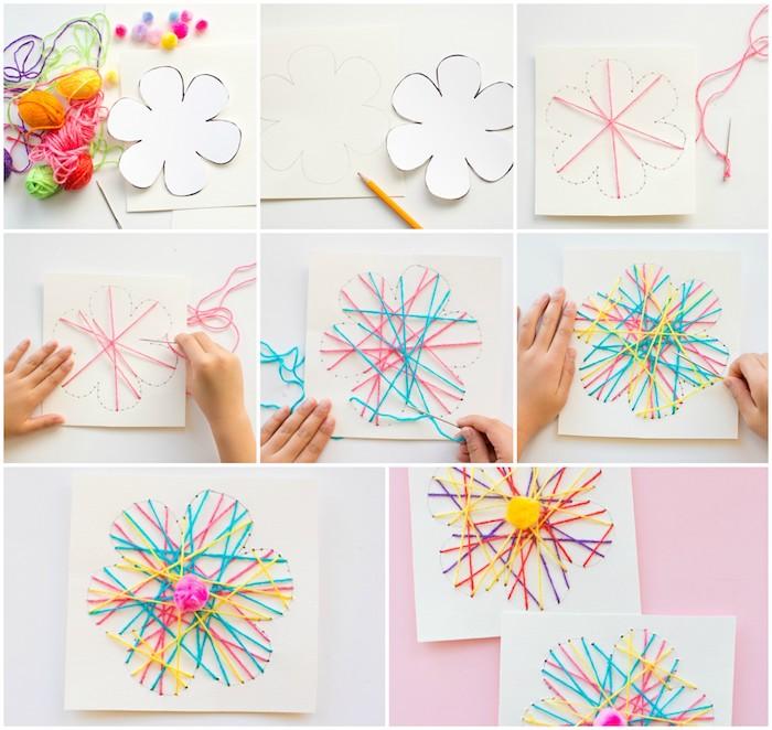 activité manuelle maternelle string art en forme de fleur pour enfants avec des fils colorés et un pompon au milieu