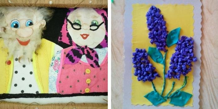 idée cadeau grand mere diy à fabriquer avec papier coloré et tissu, portrait de grands-parents 3D avec cadre beige