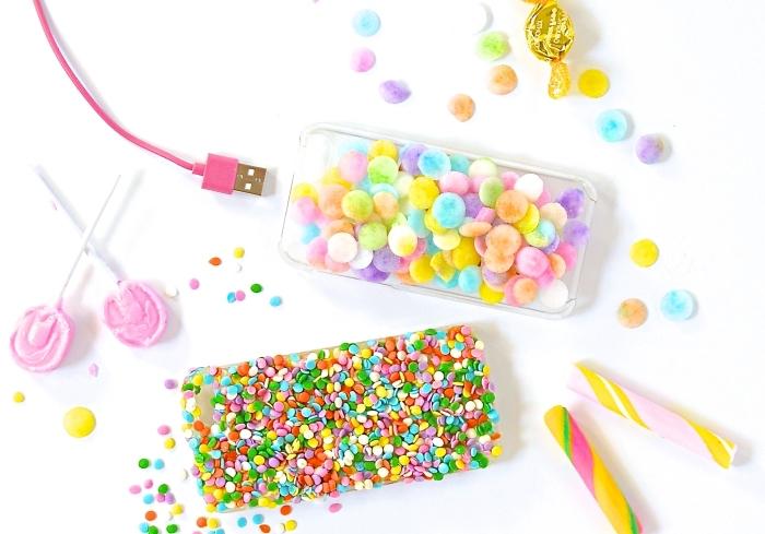 modèle de coque téléphone personnalisable à design délicieux avec embellissement d'activité manuelle à formes bonbons colorés