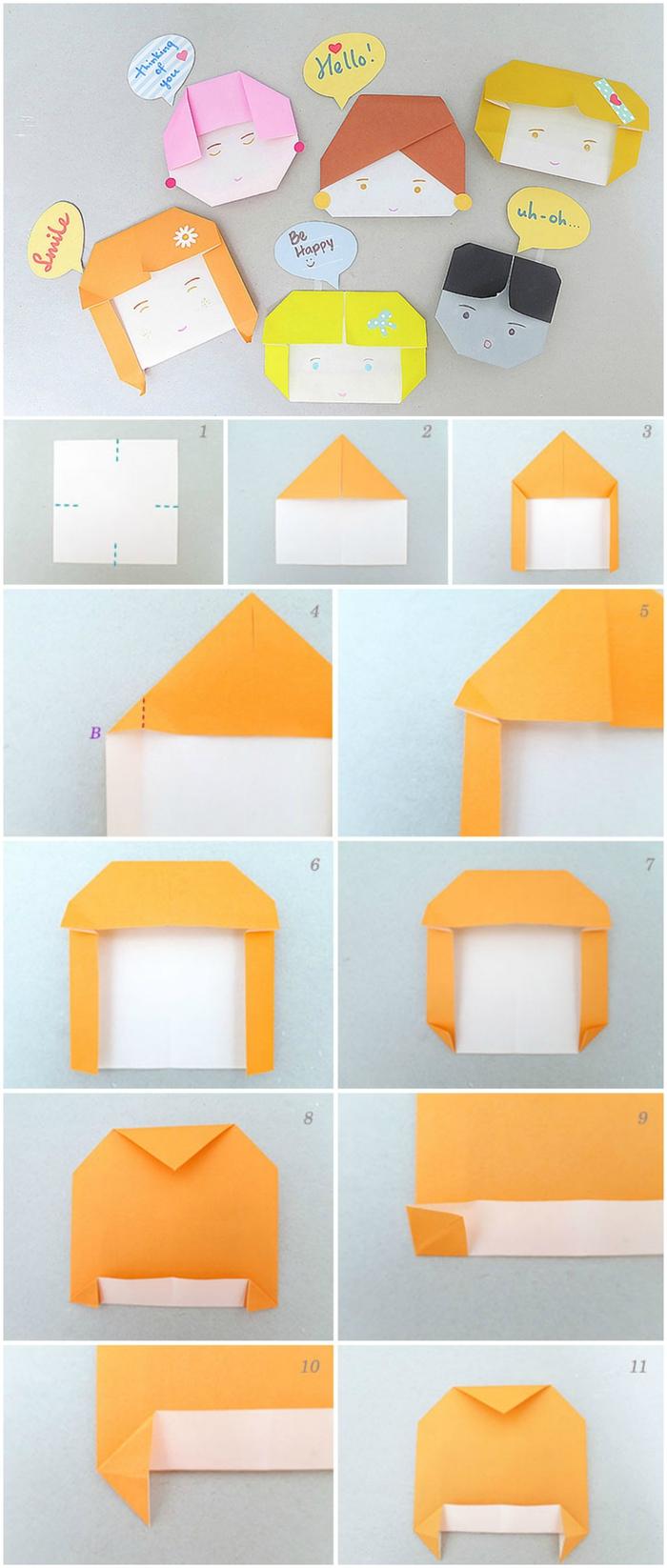 activité manuelle ludique avec des modèles d'origami enfant, têtes de personnages rigolos réalisées en papier et faciles à personnaliser