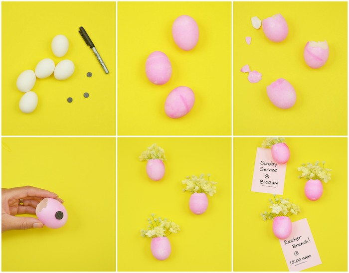 exemple d'activité manuelle paques, petits vases en coquille d oeuf repeinte en rose aimant avec de petits bouquets de fleurs
