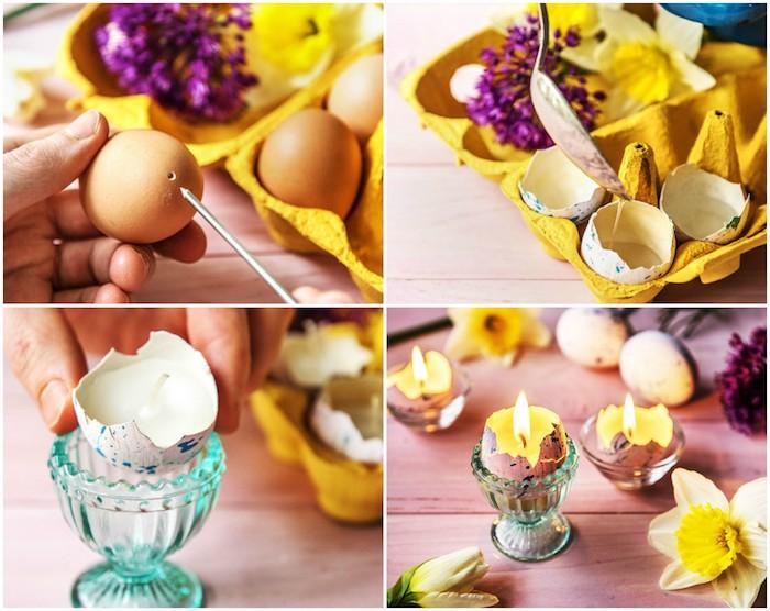 tutoriel pour réaliser une activité manuelle printemps, bougeoirs miniatures fabriqués dans une coquille d oeuf évidée et repeinte de peinture, deco centre de table de paques