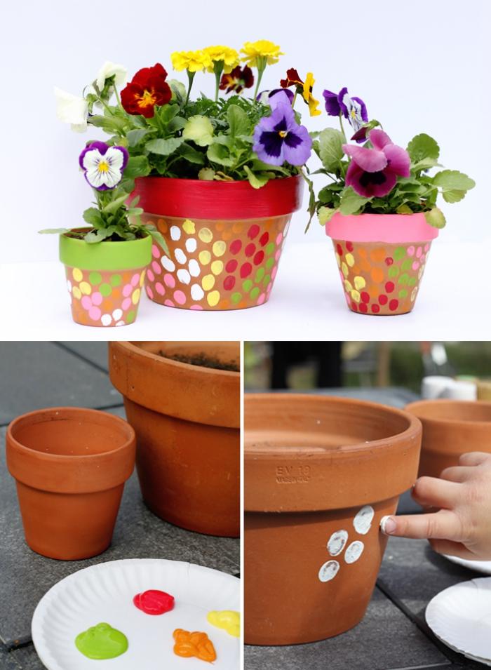 tutoriel facile pour cadeau fete des grand mere a fabriquer avec les enfants, pot à fleur décoré d'empreintes colorées des enfants