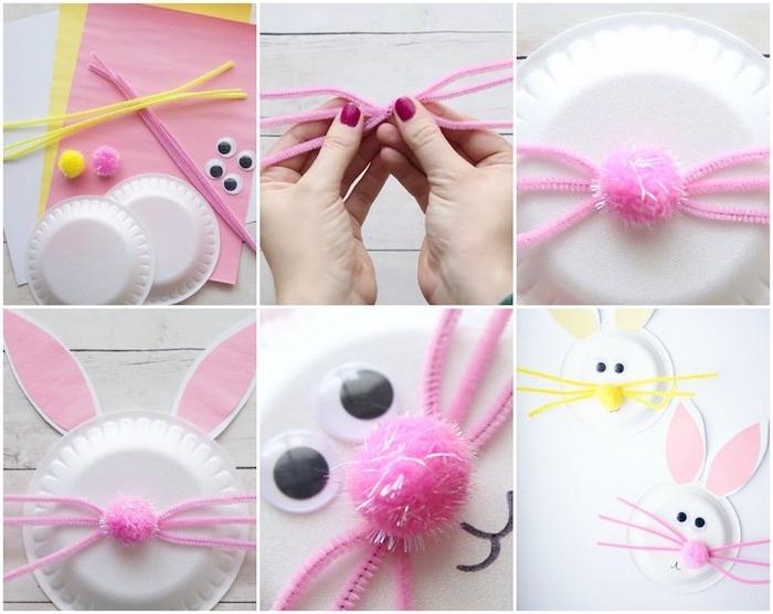 assiette en platique transformé en lapin de paques, nez en pompon, moustaches en cure-pipe, des yeux mobiles, oreilles en papier