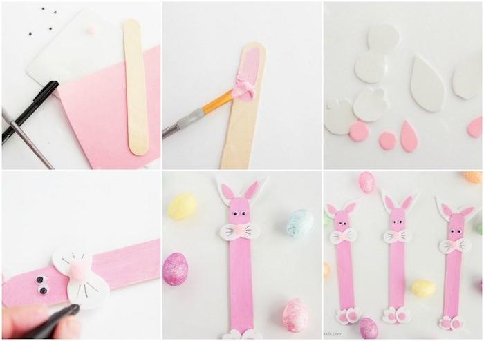 batonnet de glace transformé en lapin de pâques, avec des éléments en papier mousse et des yeux mobiles