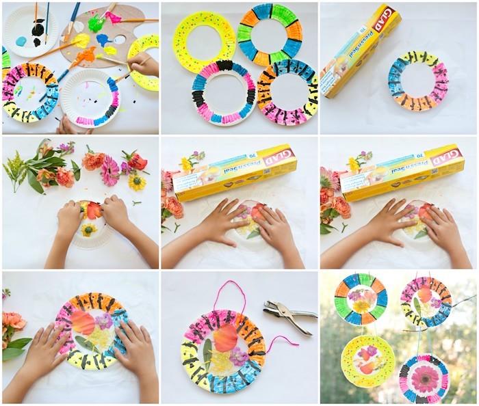 exemple d activité manuelle primaire avec des assiettes en papier colorés cutomisés de fleurs séchées, herbier décoratif