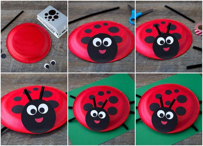 idée pour une activité manuelle maternelle, asiettes en plastique rouges avec des pois et traits de visage noirs, bricolage facile et rapide de printemps