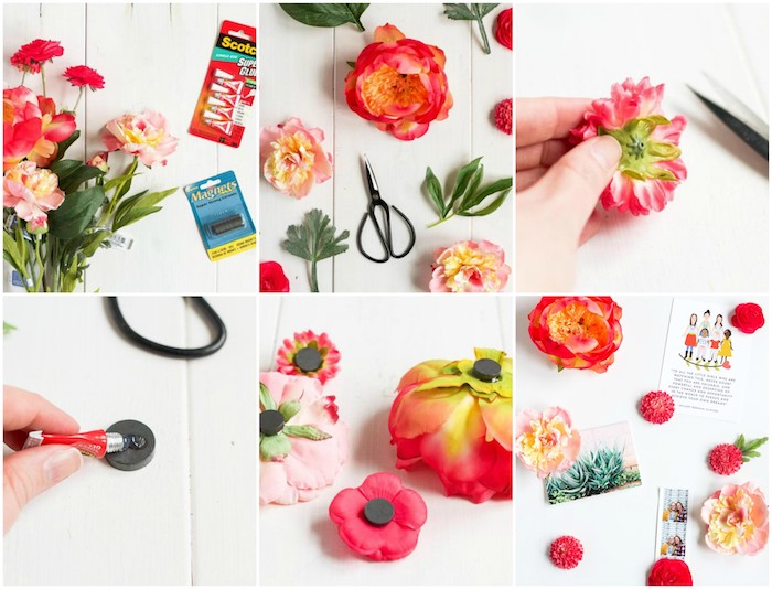 activité manuelle printemps, des aimants décorés de fleurs artificielles pour accrocher des photos sur une surface magnétique, accroche photos et notes importantes