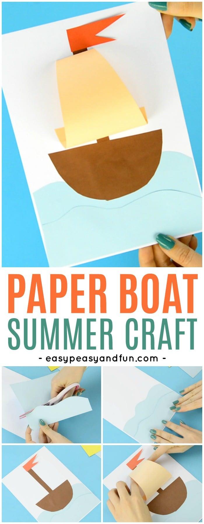 bricolage pour la maternelle avec un bateau découpé en papier coloré et collé sur une feuille blanche