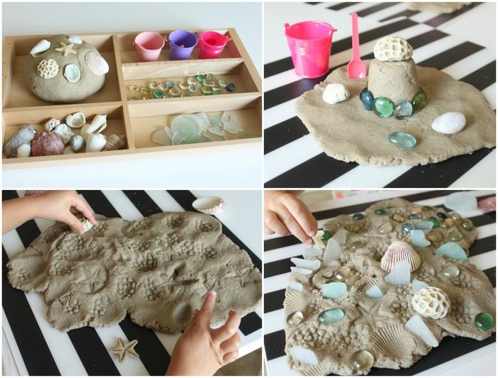 recette de pâte à modeler faite maison façon sable naturel pour décorer une plage, recette de sable kinetic nature fait maison