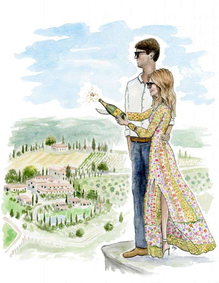 Illustration mariage adorable couple idée dessin pour un mariage annoncer ses fiançailles