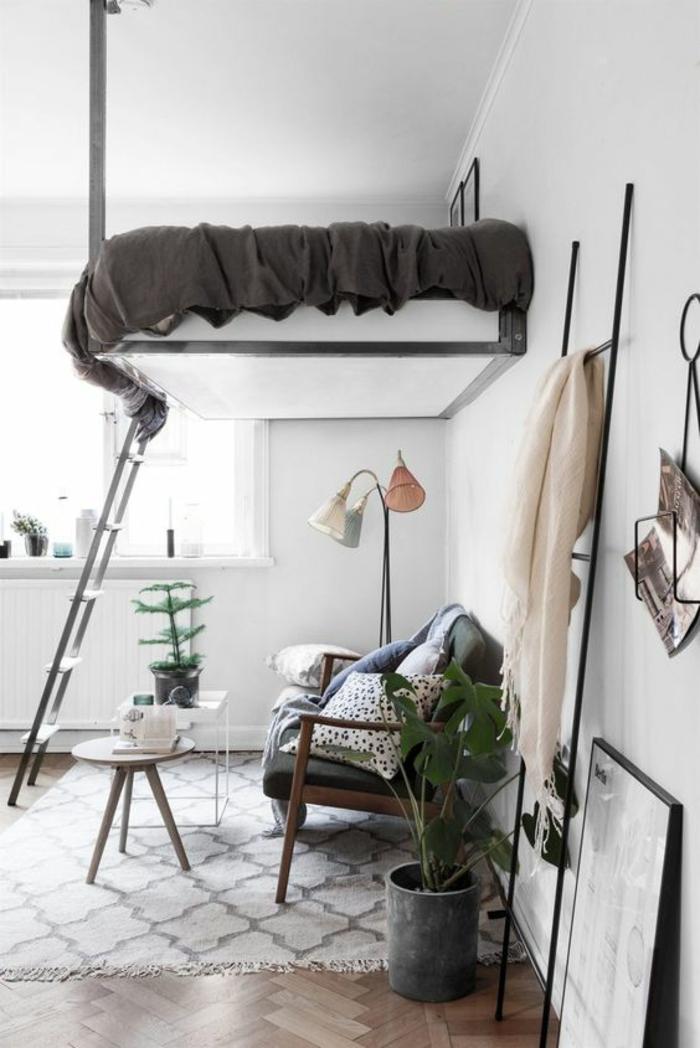 lit suspendu au plafond pou épargner de l'espace, comment amenager stuido 15m2, grand pot de plantes, tapis en blanc et gris