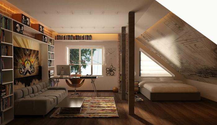 sofa minimaliste, lit sous la pente, tapis bariolé, bibliothèque minimaliste, amenagement de combles