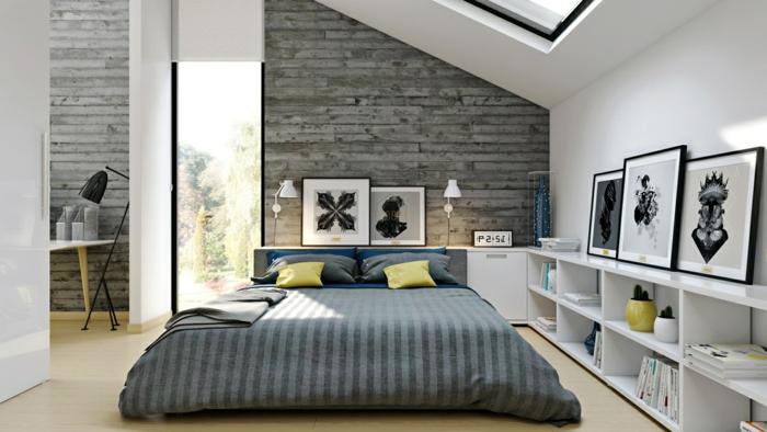 papier peint mur en briques, mur blanc, fenêtre sous pente, llt au sol, étagère basse blanche