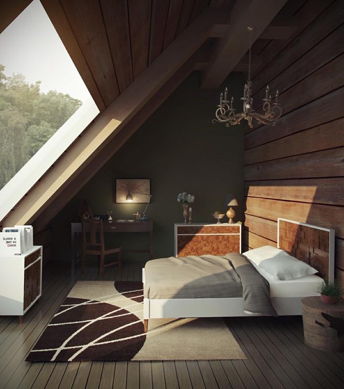 grande fenêtre dans la chambre à coucher, tapis beige et marron, parement mural bois, petit bureau