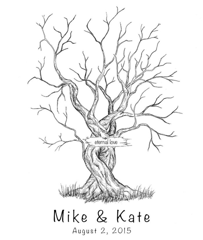 image blanc et noir pour réaliser un projet facile scrapbooking avec patron imprimé à design arbre vierge