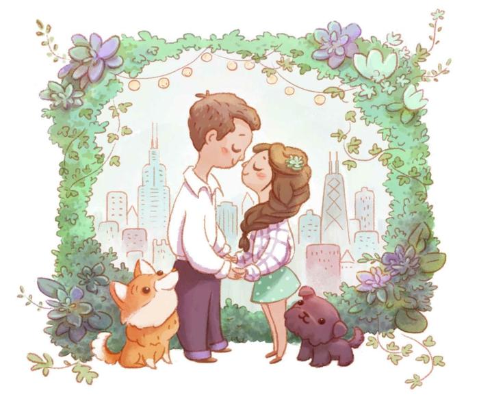 Mariage dessin animé image à imprimer gratuit image couple et ses chiens