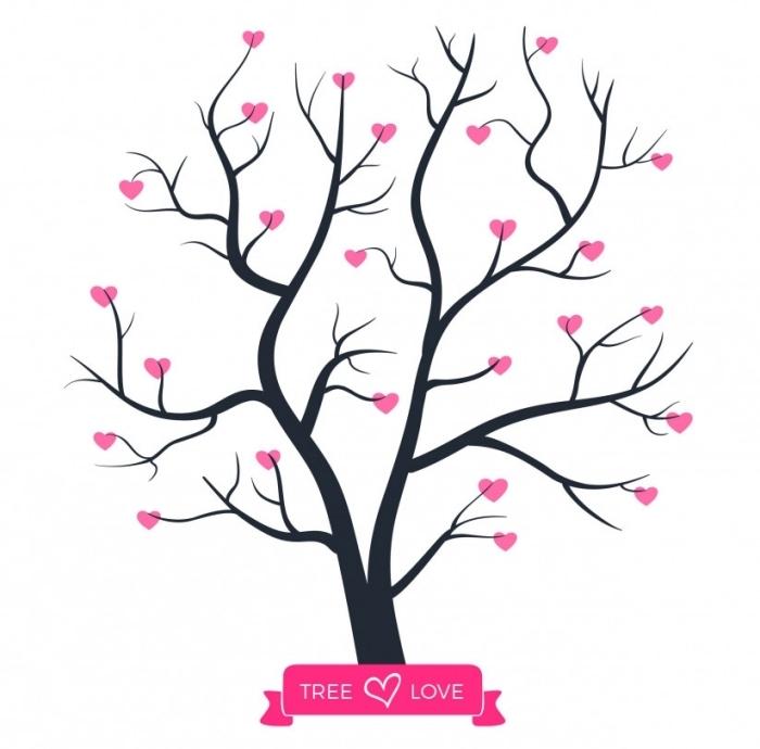 dessin facile a realiser avec arbre vierge et petits coeurs rose sur les branches, signe vrai amour sur un dessin d'amour