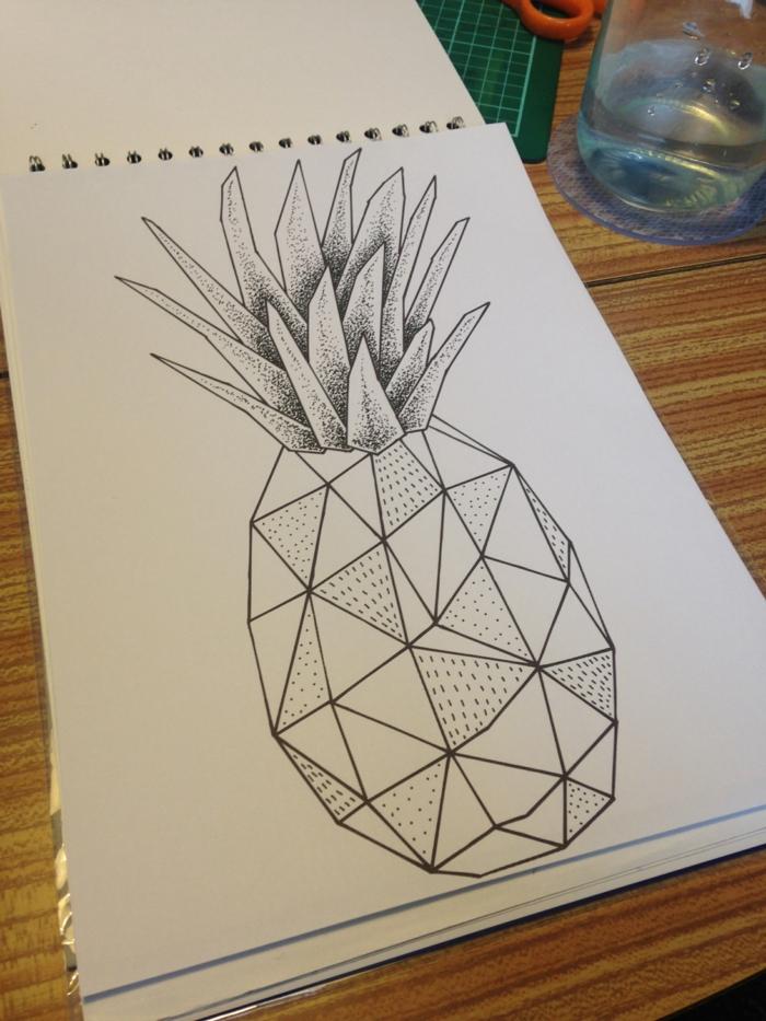 Ananas géométrique dessin ananas géométrique à reproduire idée dessin simple tuto
