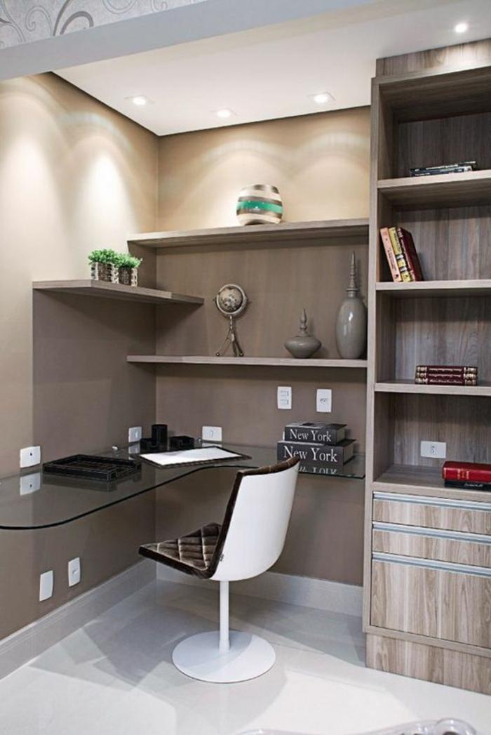 déco chambre étudiant, decoration interieur appartement, aménager chambre de 9m2, intérieur en couleur taupe, beige et blanc, sol blanc luisant