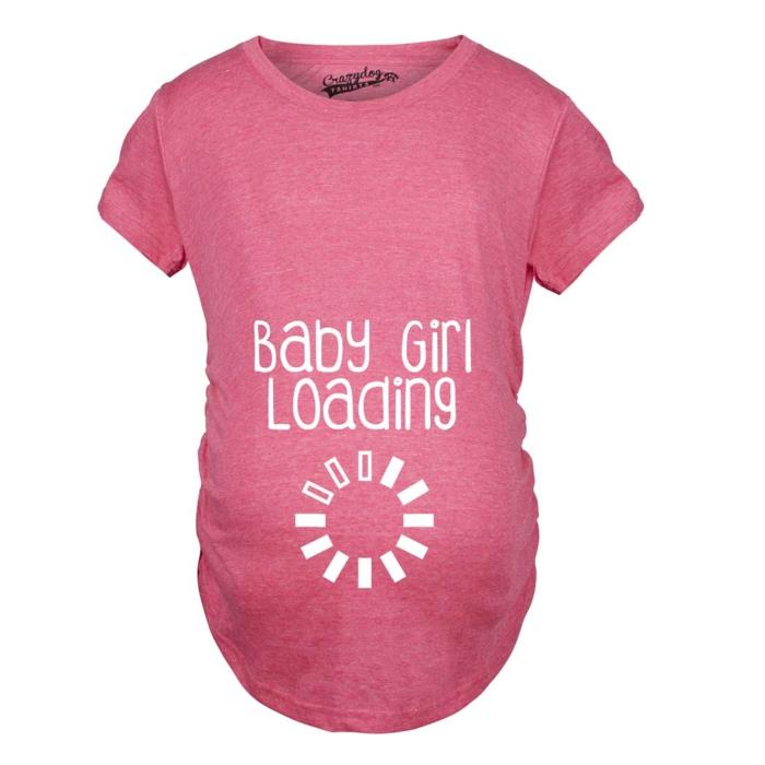 t-shirt rose pour la mère future d'une fille, annonce naissance créative