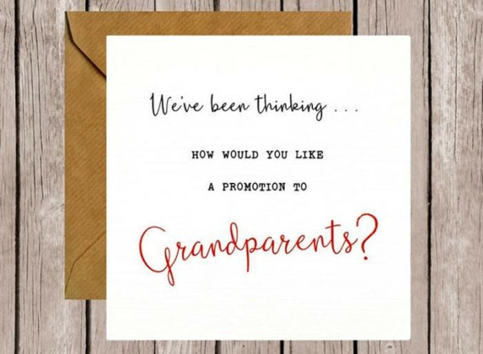 comment annoncer sa grossesse à ses parents, une carte originale pour annoncer la nouvelle