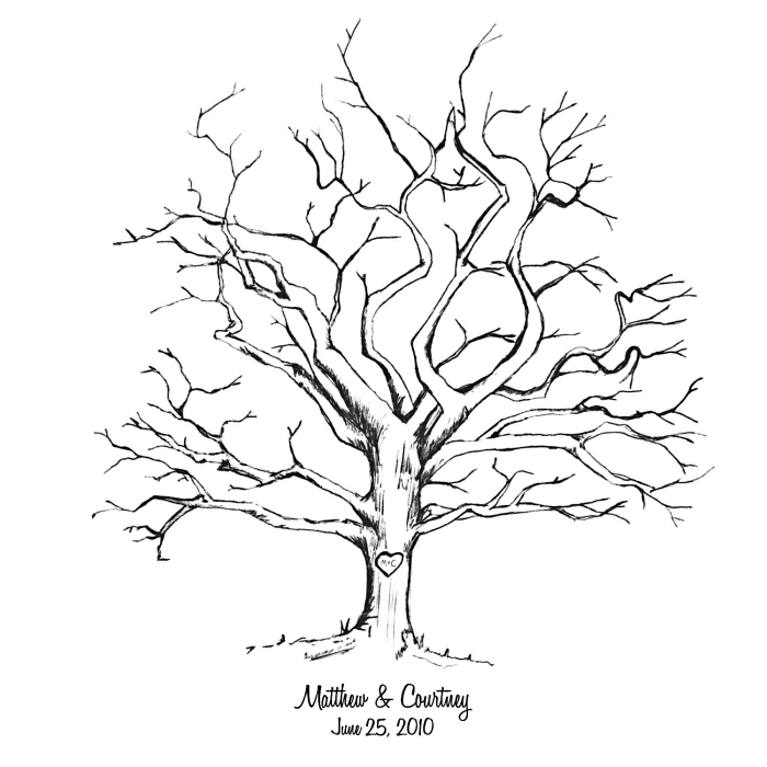 arbre a empreinte à imprimer pour avoir un souvenir de son mariage, dessin blanc et noir avec arbre vierge sans feuillage