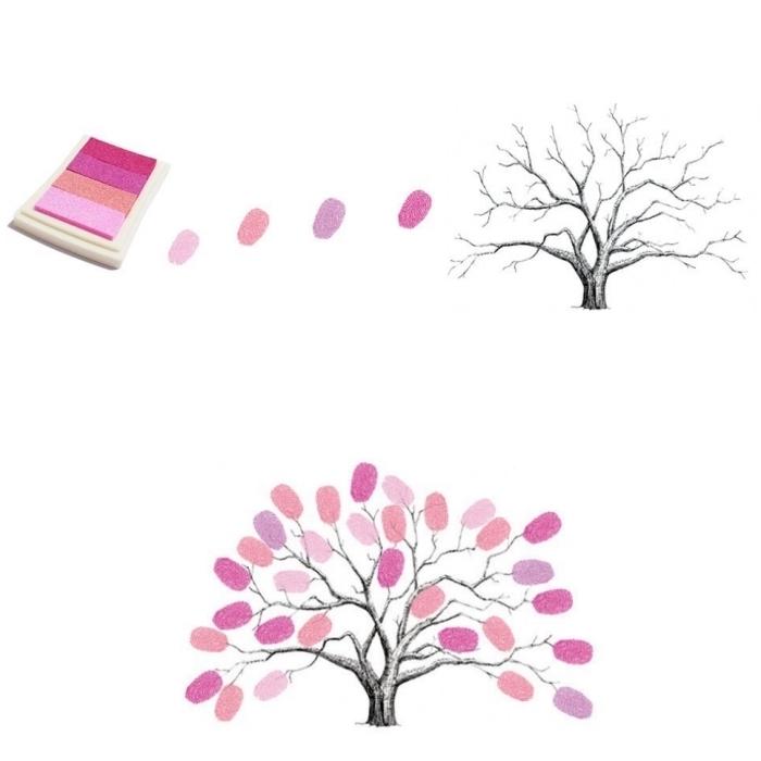 matériel scrapbooking avec tampons encreur de nuances rose et orange pour laisser ses empreintes sur le feuillage d'un arbre dessiné en blanc et noir