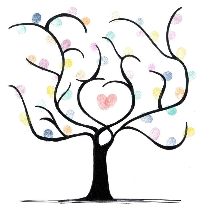dessin facile a faire avec crayon noir et papier blanc à design arbre vierge avec empreintes en encre colorées