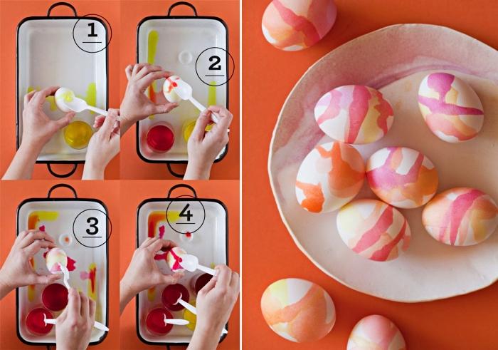 tutoriel pour apprendre comment teindre des oeufs blancs avec colorant alimentaire à design multicolore aquarelle