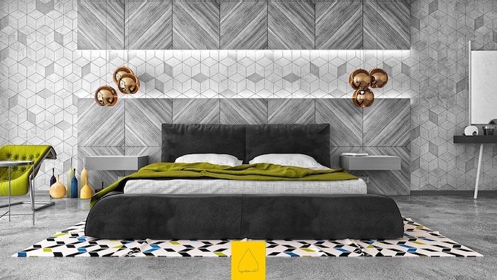 quelle couleur associer avec du gris, murs et sol gris, lit gris anthracite, couverture de lit et chaise verte, suspensions rose gold