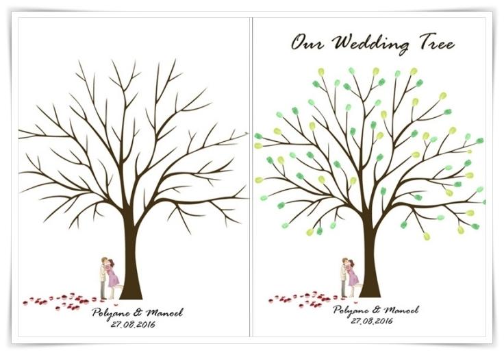 modèle d'un dessin à arbre vierge sans feuillage avec couple amoureux et gazon de coeur rouge avec signe prénoms et date de mariage