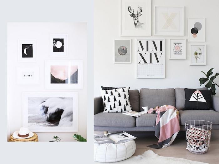canapé gris clair, décoré de coussins scandinaves noir et blanc, deco murale de cadres, parquet clair, pouf blanc