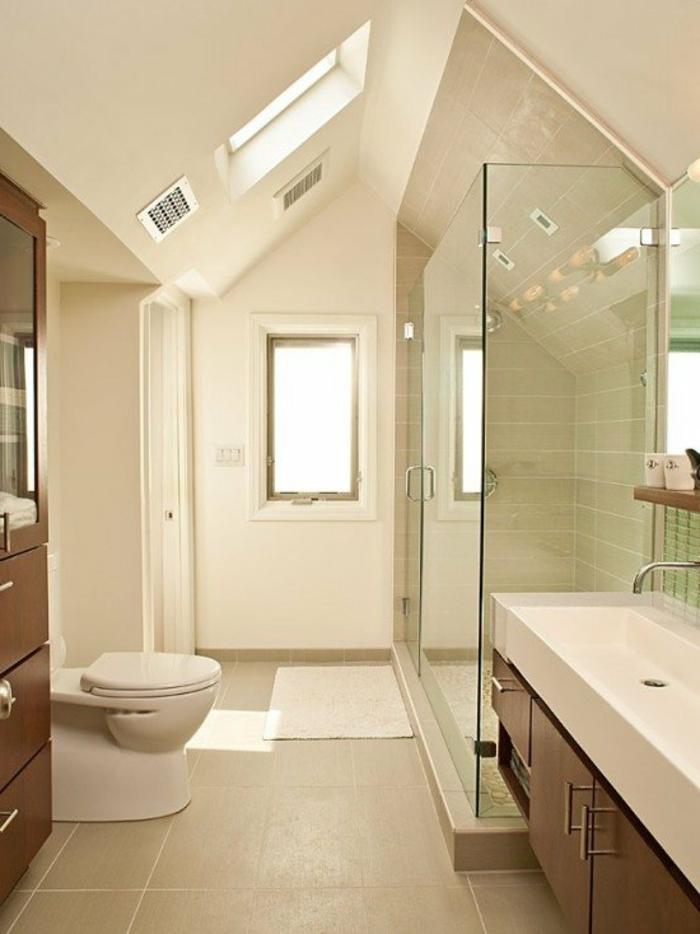 meuble sous vasque en bois, cabine de douche en verre, puits de lumière, salle de bain 4m2