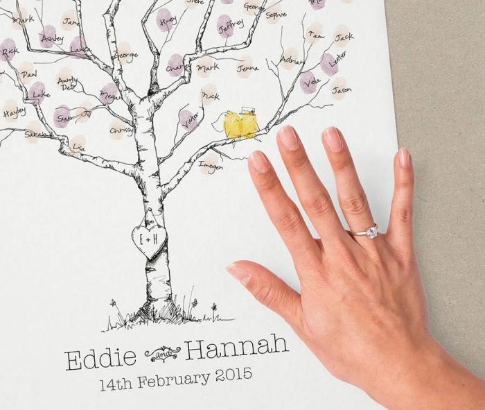 main féminine avec anneau sur le fond d'un dessin à design arbre blanc et noir au feuillage coloré en orange et violet pastel