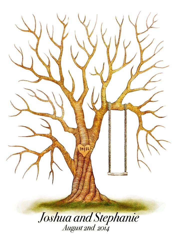 idée dessin d'arbre en couleurs aux branches marron avec balançoire et gazon vert, souvenir par des invités au mariage