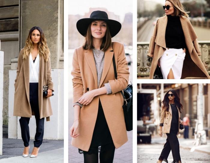 différentes idées comment porter le manteau long beige femme, pantalon noir avec blouse blanche, coupe de cheveux mi-longs de couleur châtain foncé
