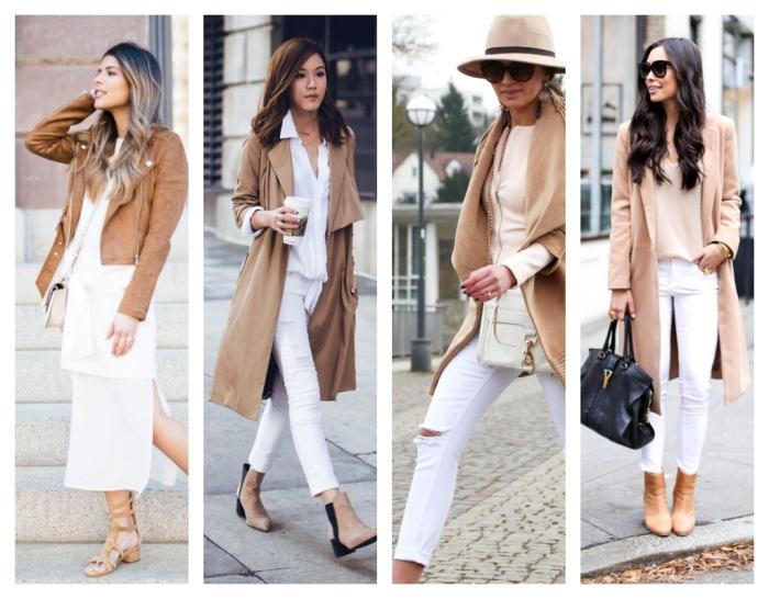 idées comment combiner le blanc avec le beige pour être une femme élégante, modèle de pantalon blanc avec chemise blanche et manteau camel