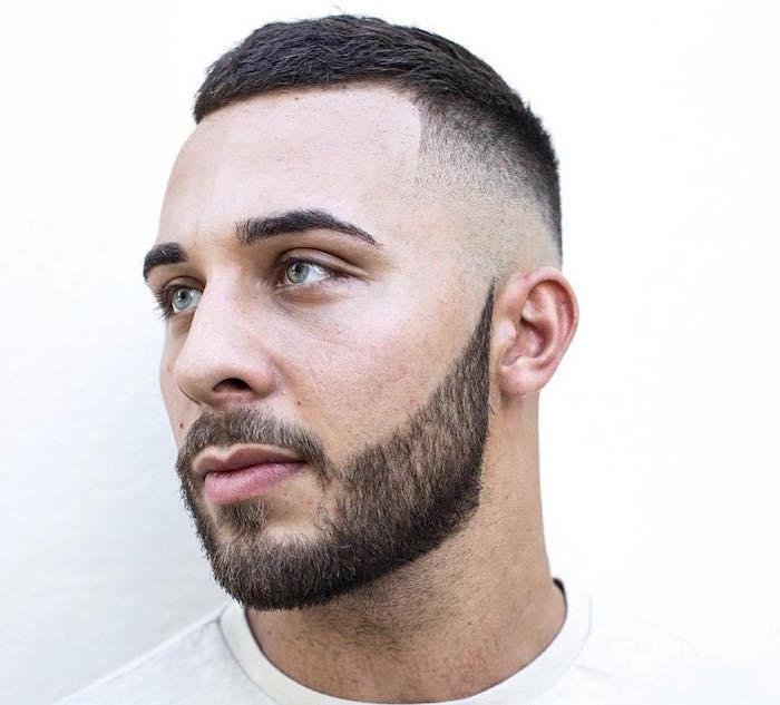 tailler sa barbe courte avec coupe cheveux en dégradé