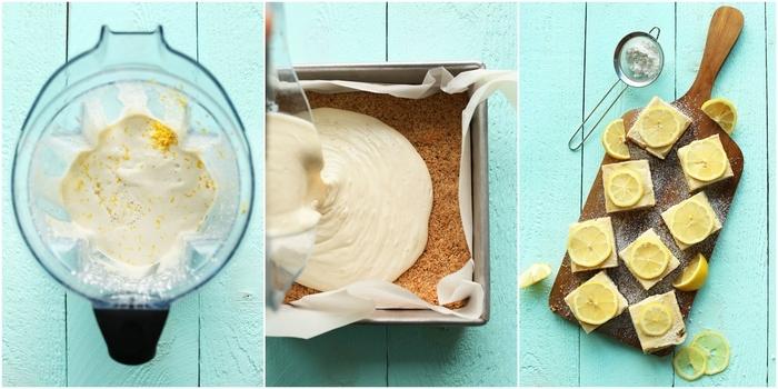 recette vegan de carrés au citron sans sucre ajouté préparés en peu de temps , idée pour un dessert diététique au goût acidulé
