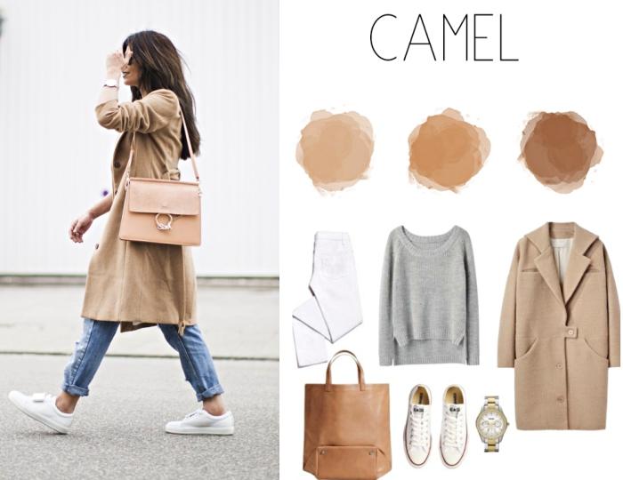 veste camel femme longue combinée avec une paire de jeans clairs et baskets blancs, vêtements en nuances camel et accessoires modernes