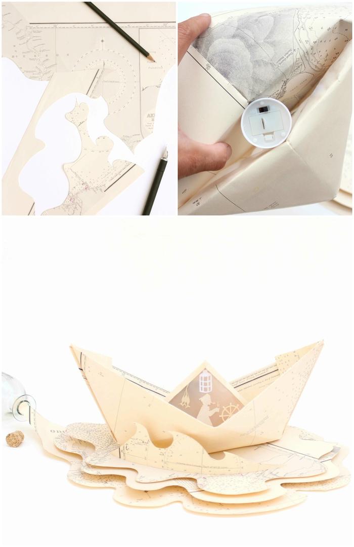 déco origami originale pour la maison, un bateau en carte maritime vintage transformé en photophore de fantaisie