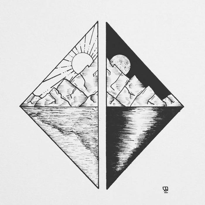 Construction géométrique dessin de géométrie idée nuit et jour dessin géométrique