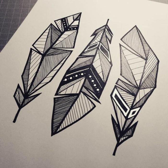 Idée dessiner des figures géométrique comment dessiner plumes