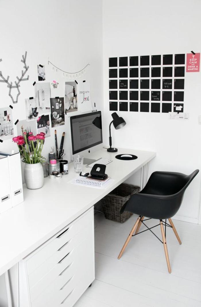 décor en noir et blanc, chambre d'étudiant, amenager studio 15m2, decoration interieure appartement, bureau avec plan de surface blanc lisse