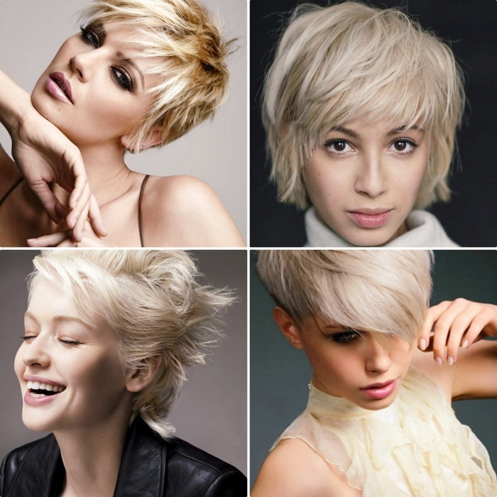 exemple de coupe courte femme blonde, cheveux déstructurés mi-longs de couleur gris pastel avec mèches blondes
